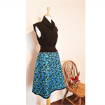Women's Skirt Turquoise Flowers Cotton Skirt Made to Measure Gold EmbossedCotton